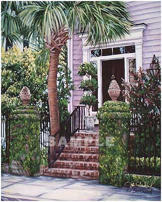 Palmetto Doorway Painting Print By Artist Jill Strickland