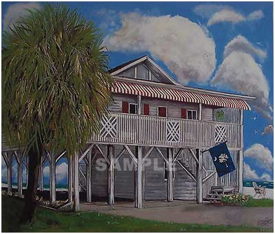 South Carolina Beach House Painting Print By Artist Eddie