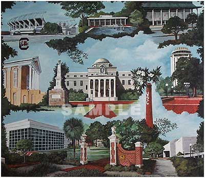 University Of South Carolina Painting Print By Artist Gail