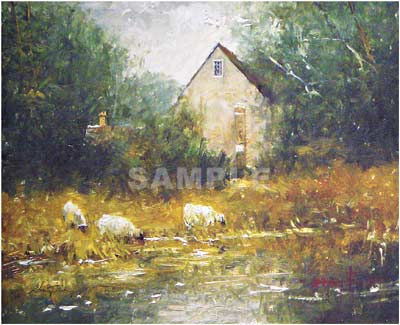 Lake At Bibury Painting Print By Artist Donny Finley