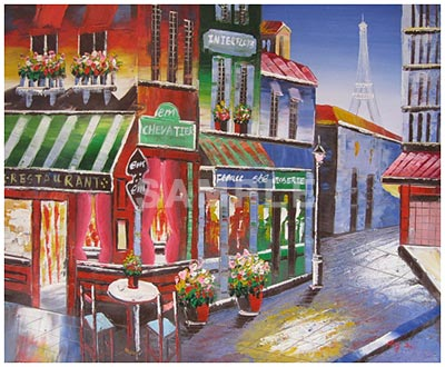 Corner Restorante Painting Print By Artist Oil On Canvas