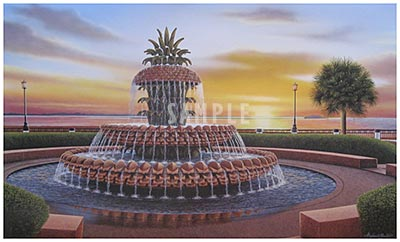 Pineapple Fountain Painting Print By Artist Stephen Gunter